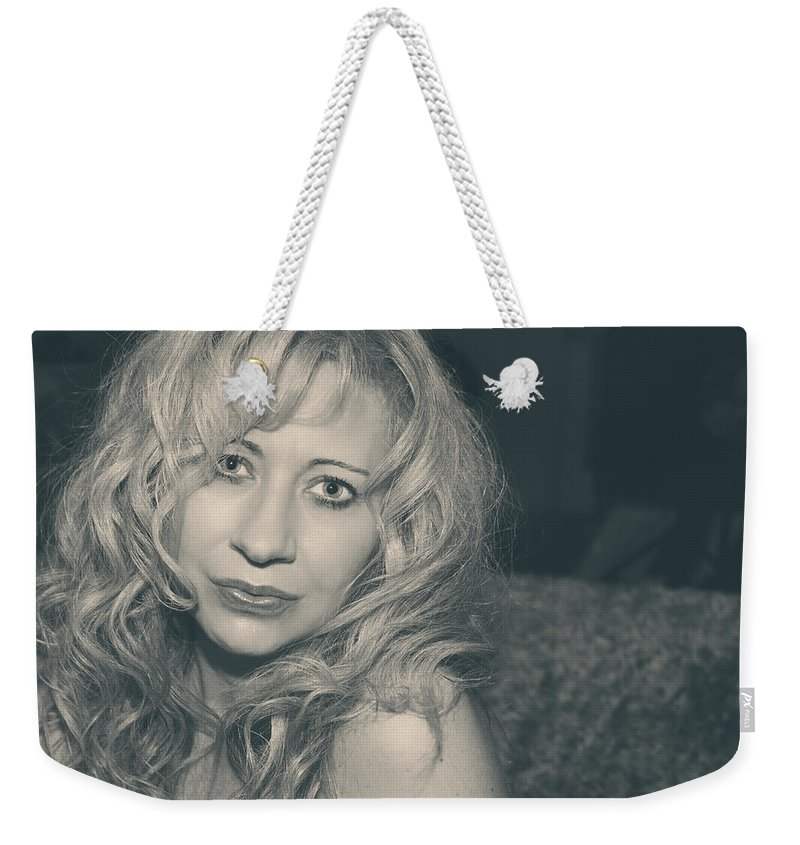 Woman Weekender Tote Bag featuring the photograph Sometimes It Hurts Instead by Laurie Search