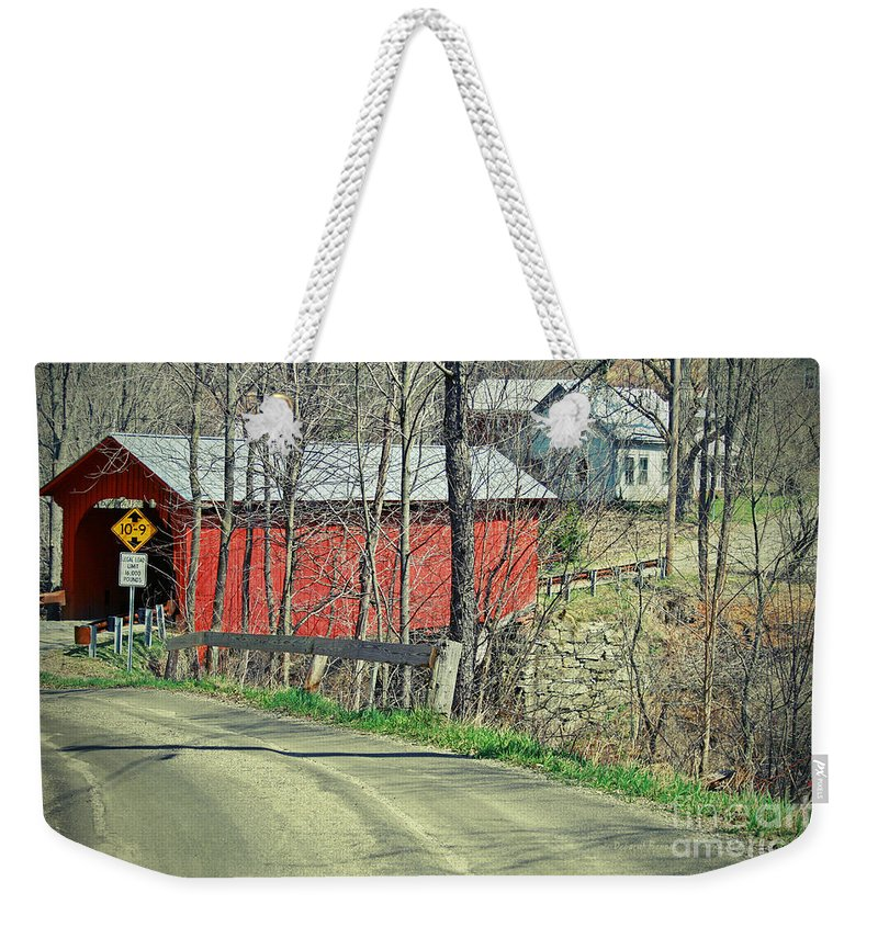 Covered Bridge Weekender Tote Bag featuring the photograph Somewhere In Vermont by Deborah Benoit