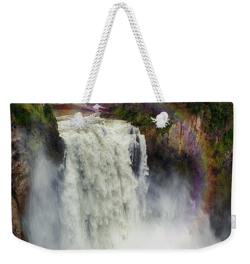 Snoqualmie Falls Washington State 6 Frame Panoramic 3 Exposures Per Frame Hdr Weekender Tote Bag featuring the photograph Somewhere Over The Falls by James Heckt