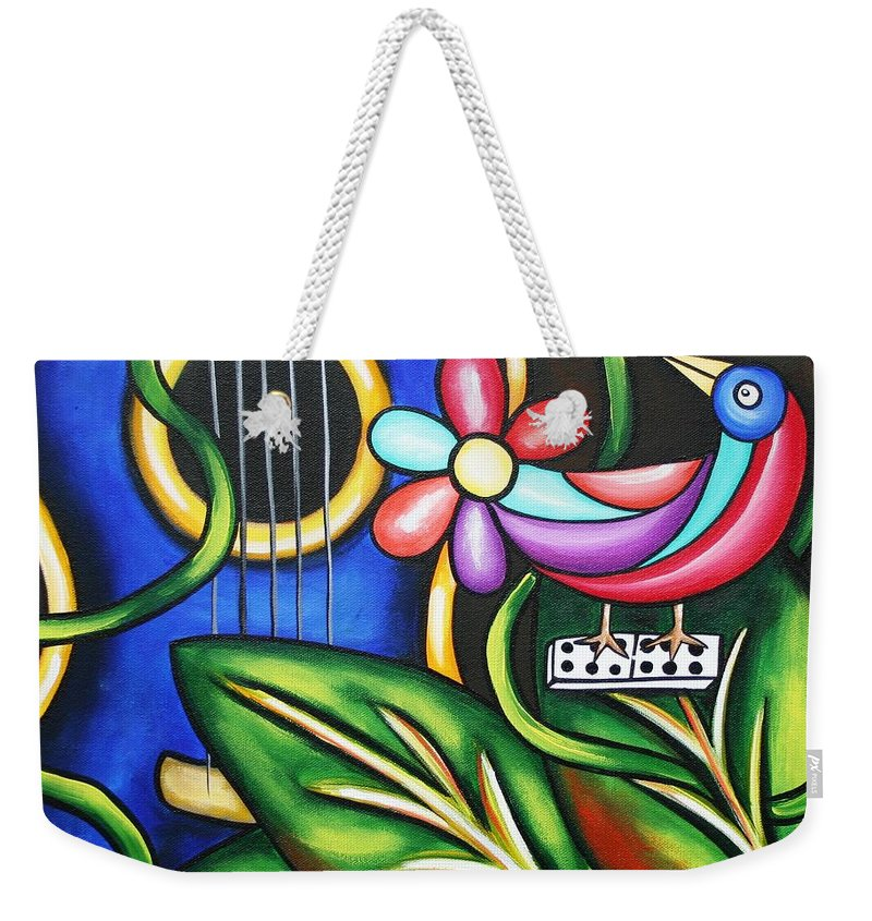 Cuba Weekender Tote Bag featuring the painting Songbird by Annie Maxwell