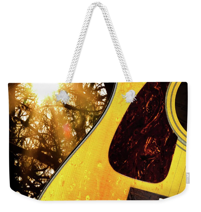 Guitar Weekender Tote Bag featuring the photograph Songs From The Wood by Bob Orsillo