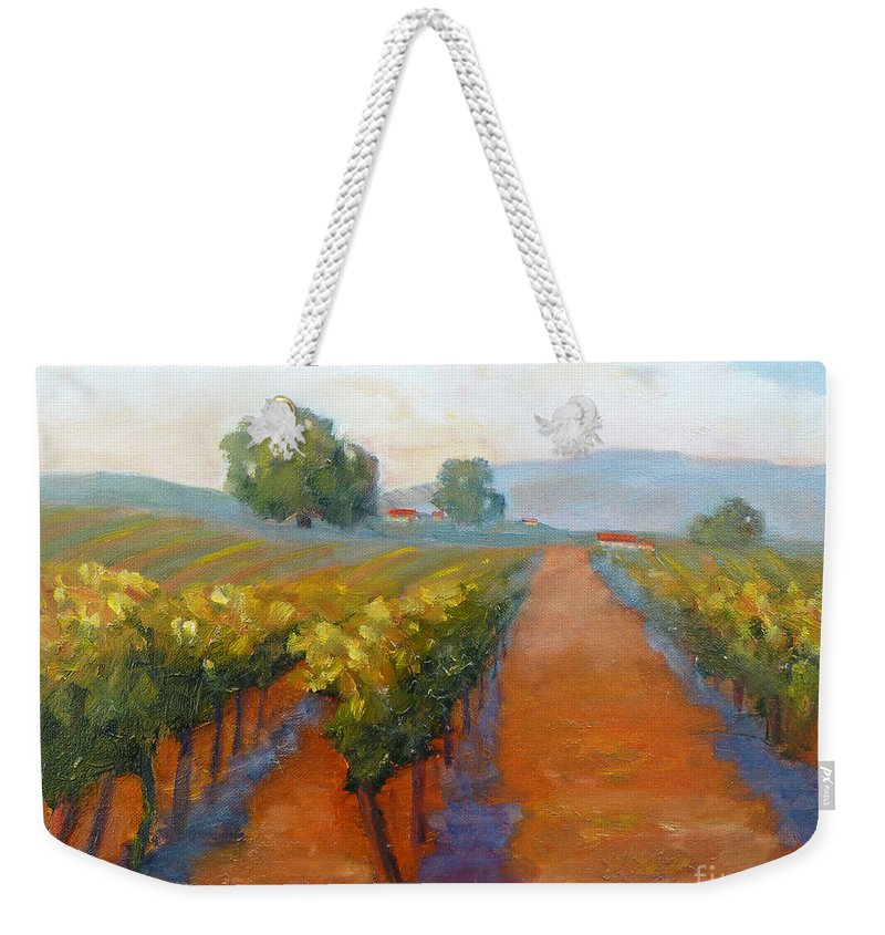 Vineyards Weekender Tote Bag featuring the painting Sonoma Vineyard by Carolyn Jarvis