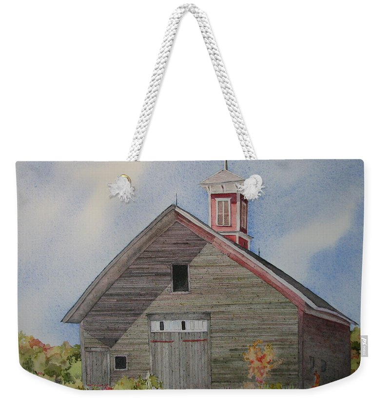 Farm Building Weekender Tote Bag featuring the painting Soon To Be Forgotten by Mary Ellen Mueller Legault