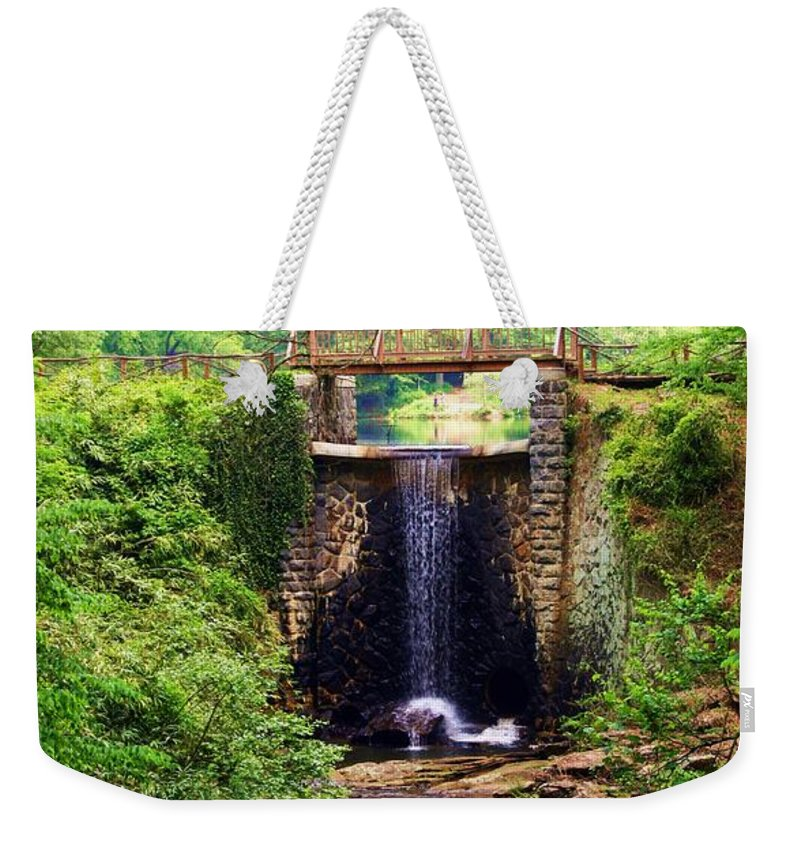 Soothing Cascade Weekender Tote Bag featuring the photograph Soothing Cascade by Patti Whitten
