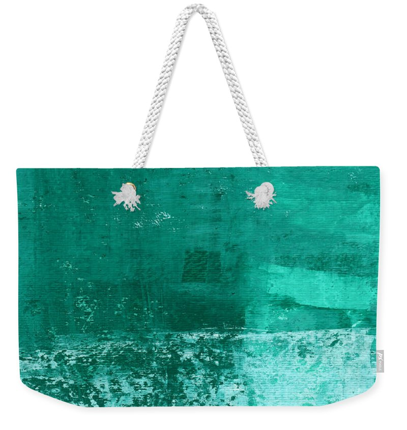 Abstract Art Weekender Tote Bag featuring the painting Soothing Sea - Abstract Painting by Linda Woods