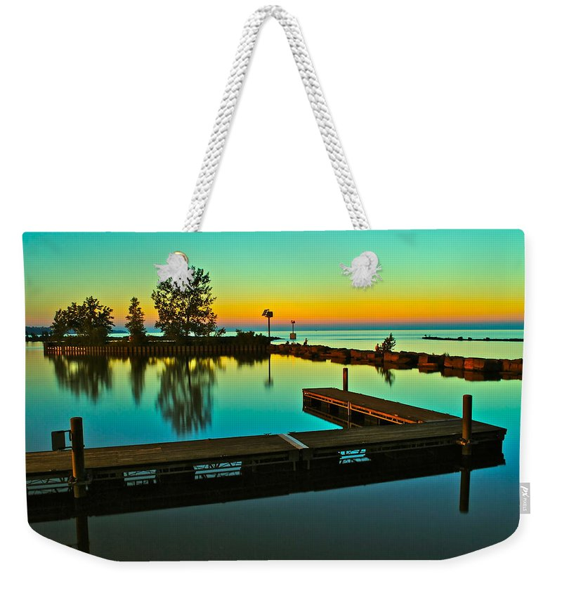 Sunset Weekender Tote Bag featuring the photograph Soothing Sunset by Frozen in Time Fine Art Photography
