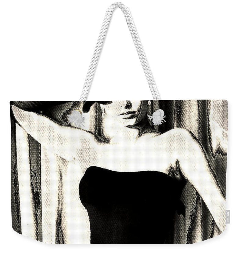 Sophia Loren Weekender Tote Bag featuring the digital art Sophia Loren - Black And White by Absinthe Art By Michelle LeAnn Scott