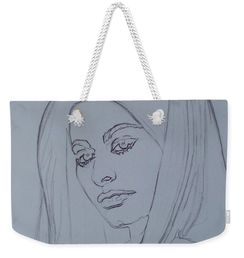Woman Weekender Tote Bag featuring the drawing Sophia Loren In Headdress by Sean Connolly