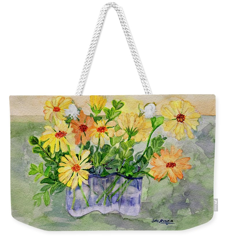 Watercolor Weekender Tote Bag featuring the painting Sophie's Calendulas by Sole Avaria