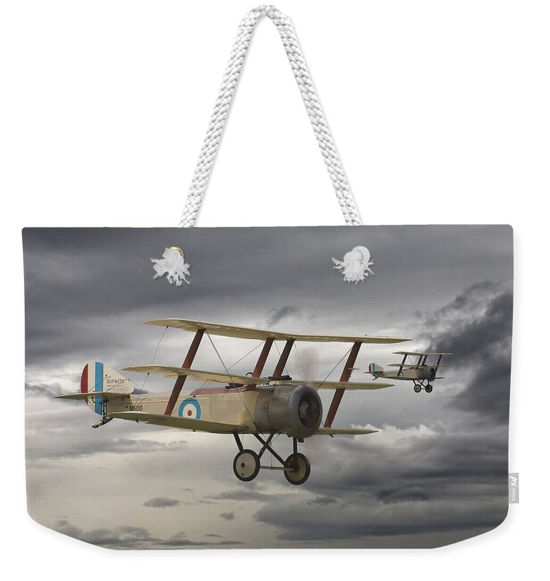 Aircraft Weekender Tote Bag featuring the digital art Sopwith Triplane by Pat Speirs