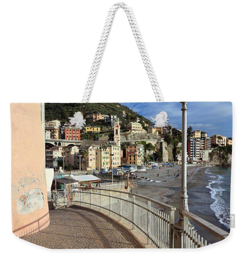 Architecture Weekender Tote Bag featuring the photograph Sori - Sea And Promenade by Antonio Scarpi