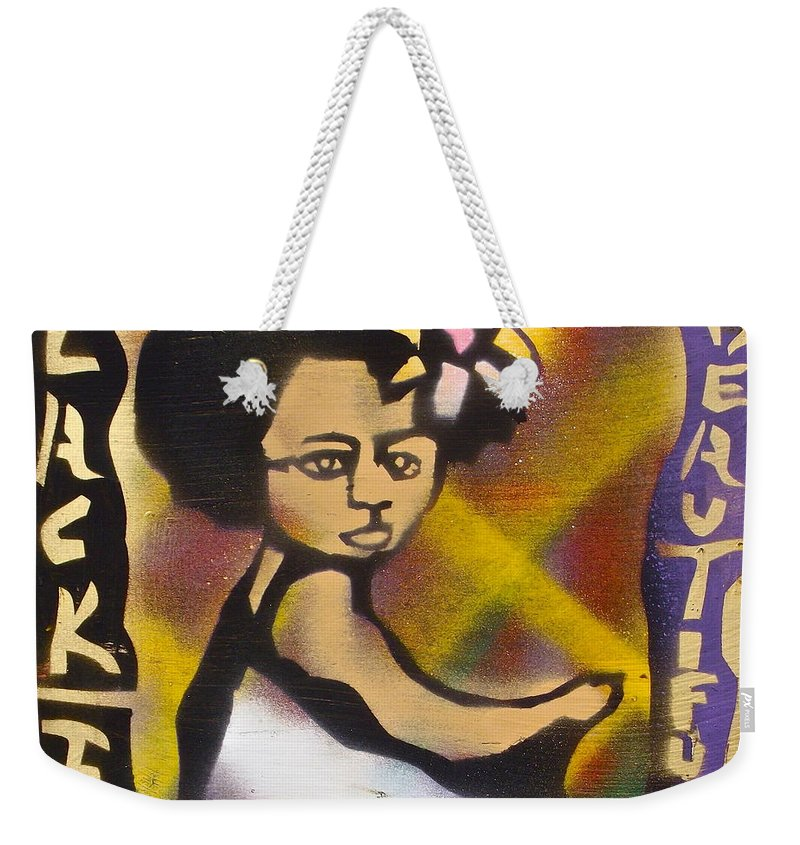 Black Weekender Tote Bag featuring the painting Soul Flower 2 by Tony B Conscious