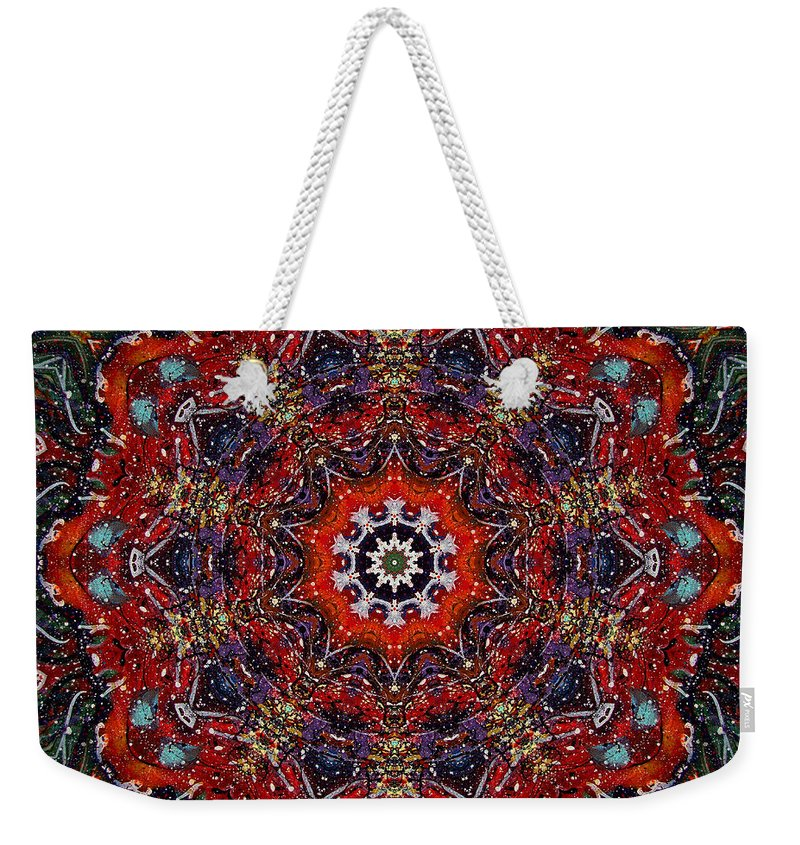 Cosmos Weekender Tote Bag featuring the mixed media Soul Of The Universe by Natalie Holland