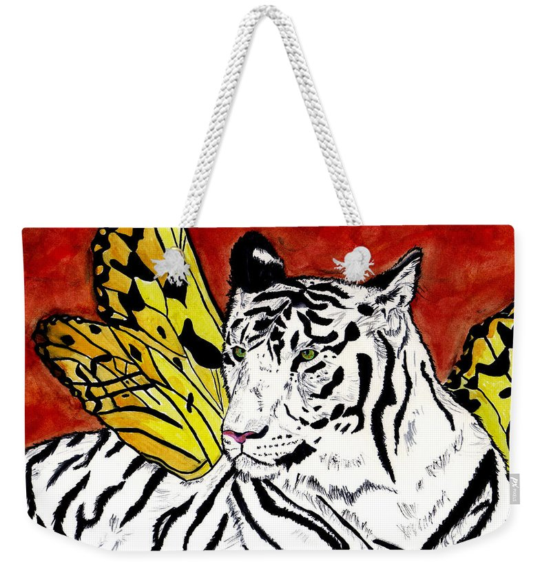 Tiger Weekender Tote Bag featuring the painting Soul Rhapsody by Crystal Hubbard