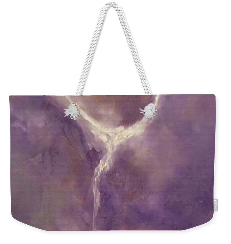 Soul Weekender Tote Bag featuring the painting Soul Takes Flight by Lord Frederick Lyle Morris - Disabled Veteran