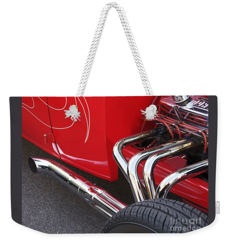 Car Weekender Tote Bag featuring the photograph Souped Up by Ann Horn