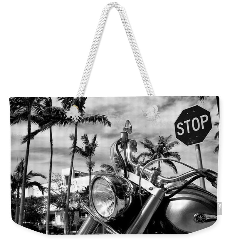 Bike Weekender Tote Bag featuring the photograph South Beach Cruiser by Dave Bowman