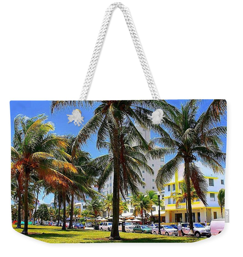 South Beach - Miami Beach - Florida - Landscapes - Miami - South Beach Weekender Tote Bag featuring the photograph South Beach Miami Beach by Dora Sofia Caputo Photographic Design and Fine Art