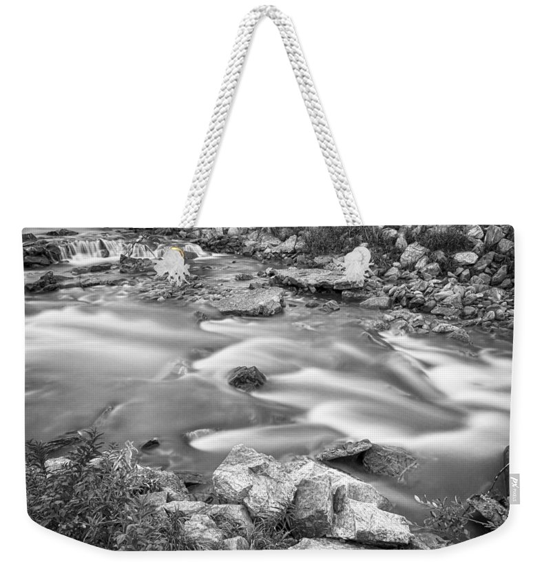 Creek Weekender Tote Bag featuring the photograph South Boulder Creek Little Waterfalls Rollinsville Bw by James BO Insogna