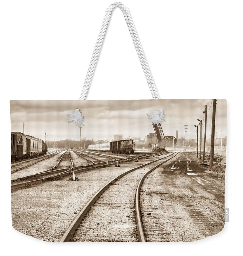 Bridge Weekender Tote Bag featuring the photograph South Buffalo Yards by Guy Whiteley