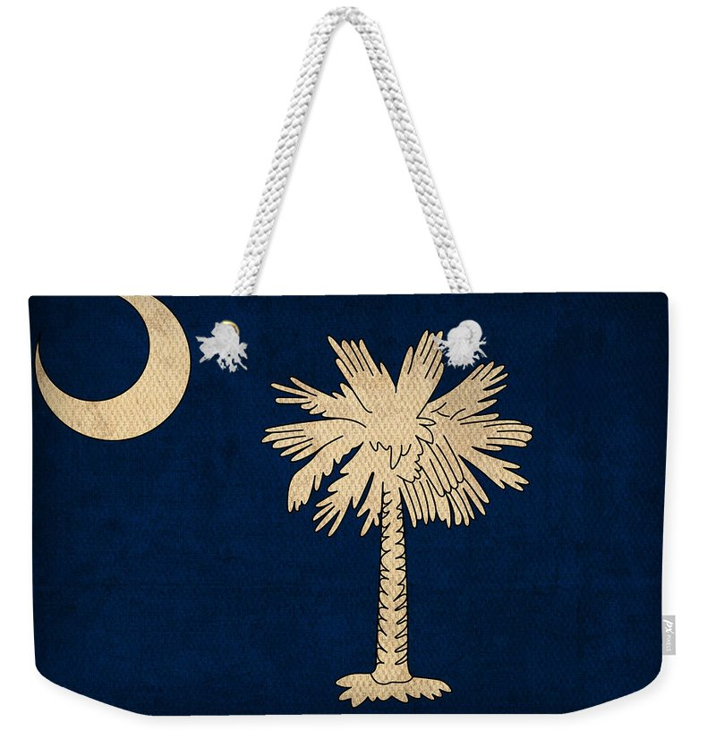 South Weekender Tote Bag featuring the mixed media South Carolina State Flag Art On Worn Canvas by Design Turnpike