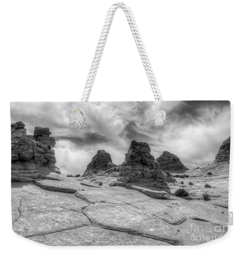 Rock Weekender Tote Bag featuring the photograph South Coyote Buttes Monochrome 1 by Bob Christopher