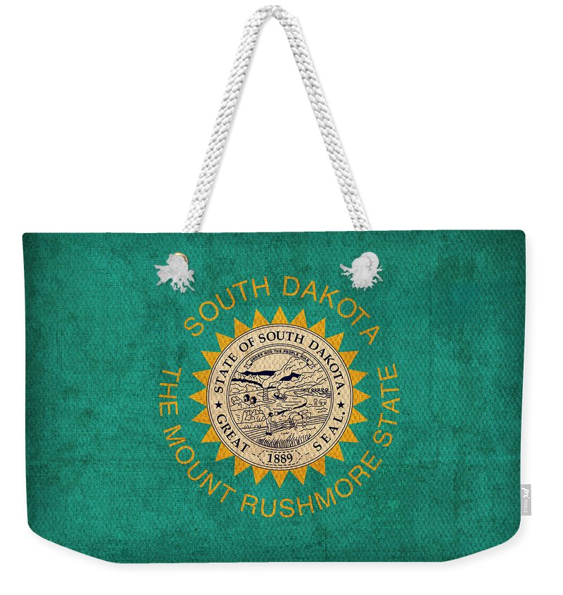 South Dakota State Flag Art On Worn Canvas Weekender Tote Bag For