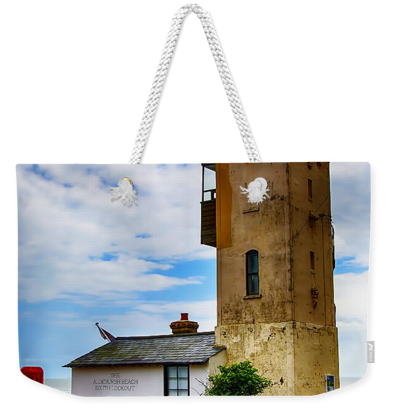 Aldeburgh Canvas Weekender Tote Bag featuring the photograph South Lookout Tower Aldeburgh Beach by Chris Thaxter