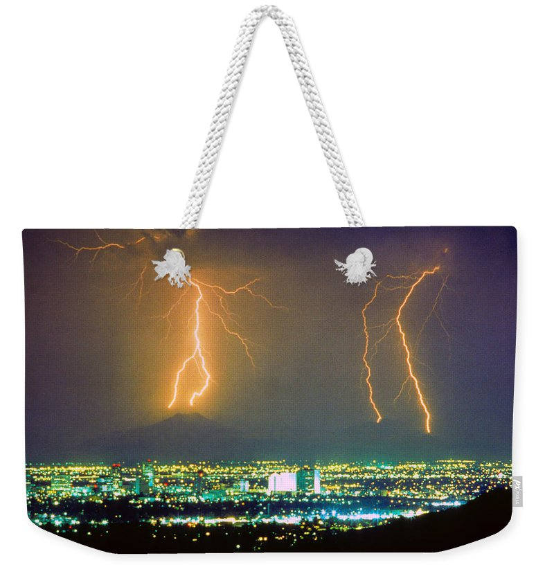 Lightning Weekender Tote Bag featuring the photograph South Mountain Lightning Strike Phoenix Az by James BO Insogna