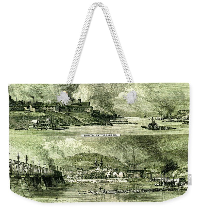 Downtown District Weekender Tote Bag featuring the digital art South Pittsburgh And Allegheny City by Nicoolay