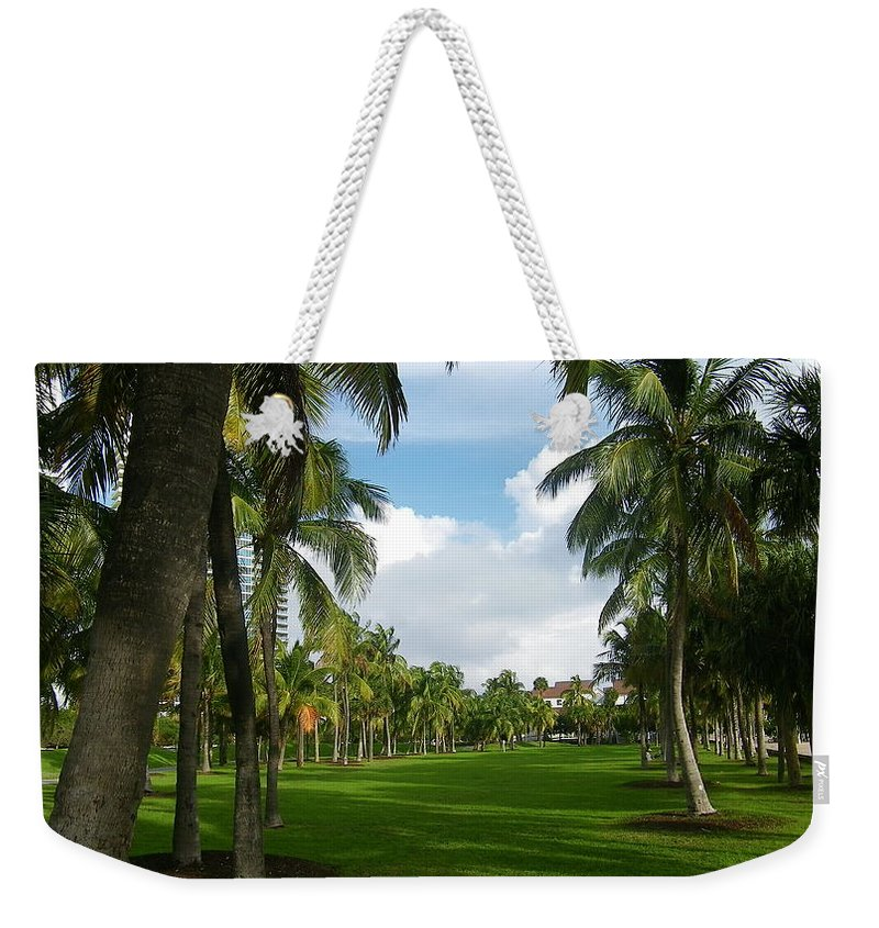 South Beach Weekender Tote Bag featuring the photograph South Pointe Park Field by John Wall