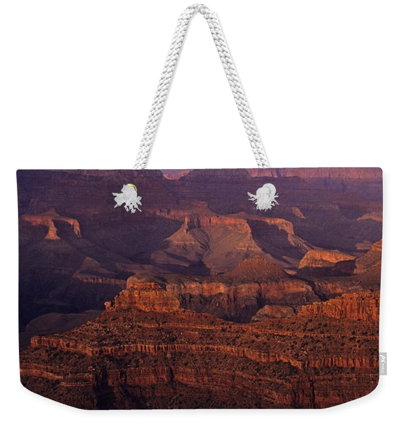 Grand Canyon National Park Weekender Tote Bag featuring the photograph South Rim Grand Canyon Taken Near Yavapai Point Sunset Light On by Jim Corwin
