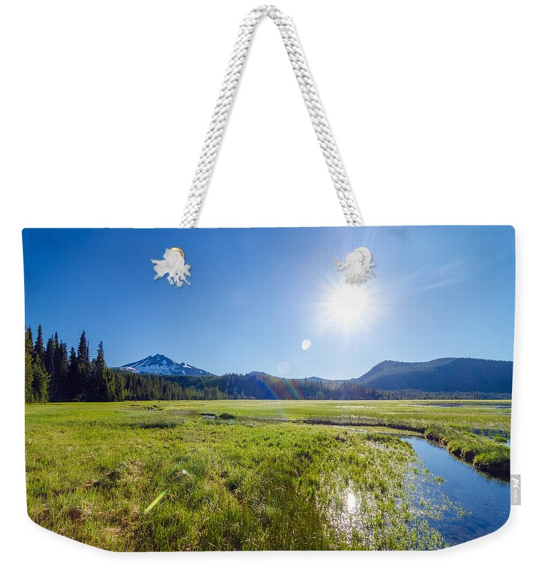 Mountain Weekender Tote Bag featuring the photograph South Sister Wide Angle by Jess Kraft