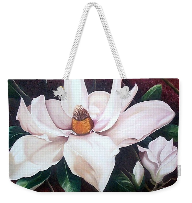 Magnolia Southern Bloom Floral Botanical White Weekender Tote Bag featuring the painting Southern Beauty by Karin Dawn Kelshall- Best