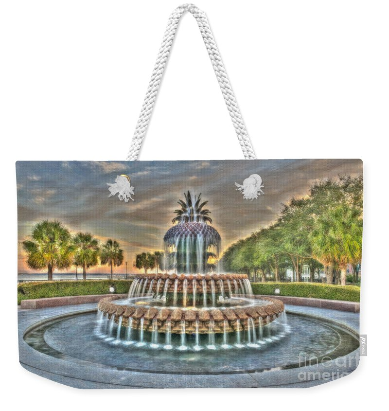 Pineapple Fountain Weekender Tote Bag featuring the photograph Southern Charm Pineapple by Dale Powell
