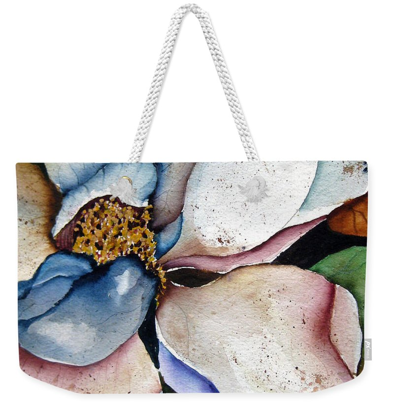 Magnolias Weekender Tote Bag featuring the painting White Glory by Lil Taylor