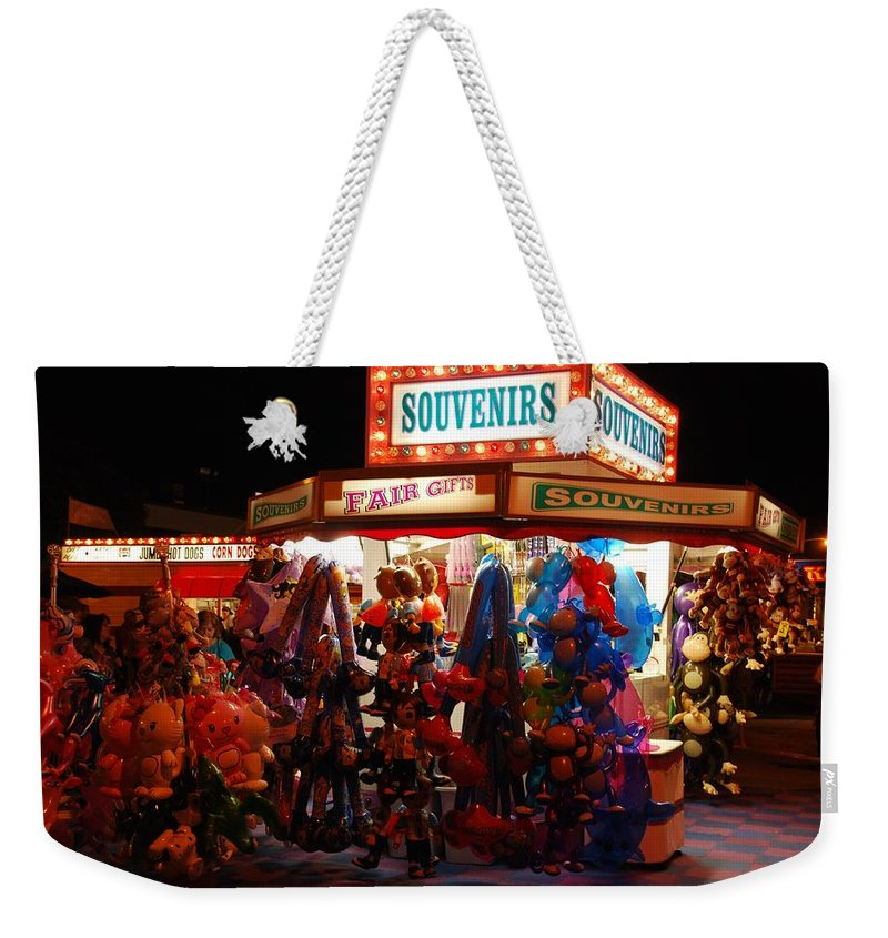 State Fair Weekender Tote Bag featuring the photograph Souvenirs And Fair Gifts by Eric Tressler