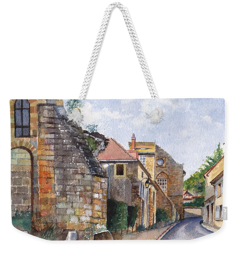 Stonework Weekender Tote Bag featuring the painting Souvigny Eclectic Architecture In A Village In Central France by Dai Wynn