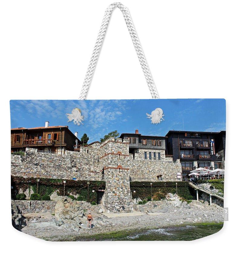 Sozopol Fortress Wall Weekender Tote Bag featuring the photograph Sozopol Fortress Wall by Tony Murtagh