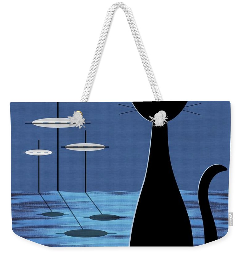 Mid Century Modern Weekender Tote Bag featuring the digital art Space Cat In Blue by Donna Mibus