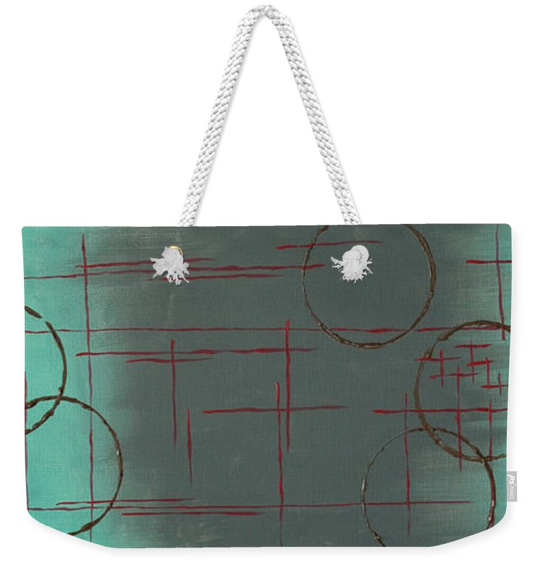 Space Weekender Tote Bag featuring the painting Space Configuration by Paulette B Wright