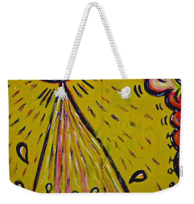 Spaceship Dog Graffiti Weekender Tote Bag featuring the painting Spaceship Dog Graffiti by Joan Reese