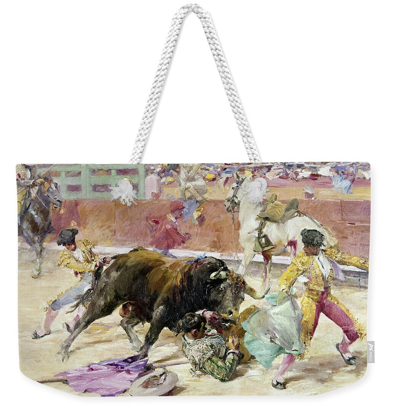 1900 Weekender Tote Bag featuring the painting Spain - Bullfight C1900 by Granger
