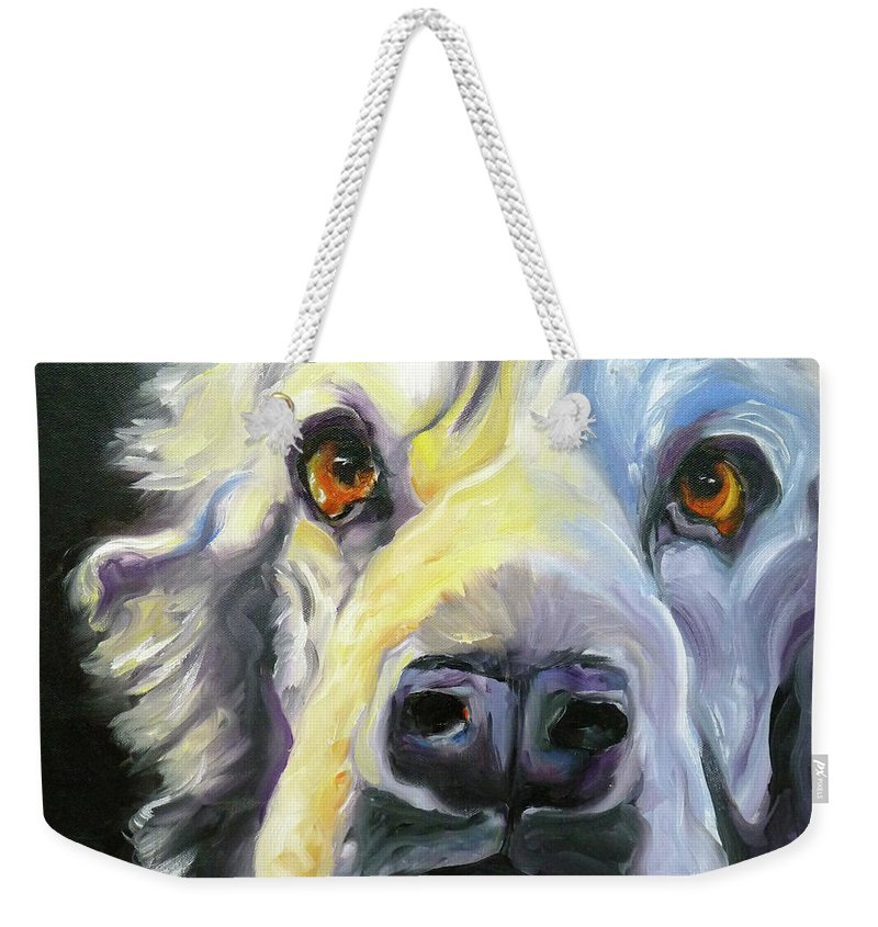 Dogs Weekender Tote Bag featuring the painting Spaniel In Thought by Susan A Becker