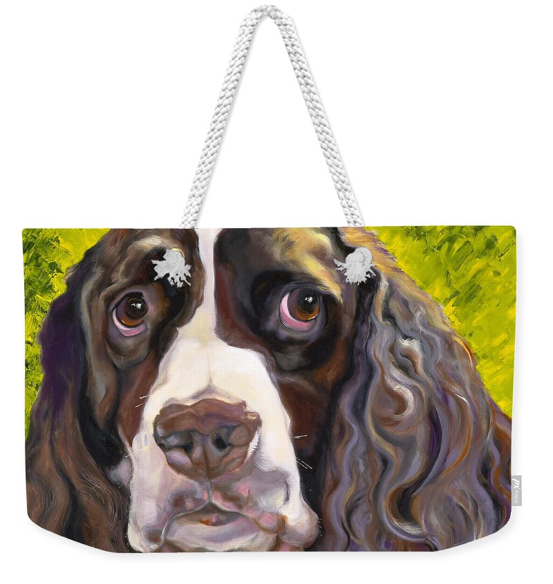 Dogs Weekender Tote Bag featuring the painting Spaniel The Eyes Have It by Susan A Becker