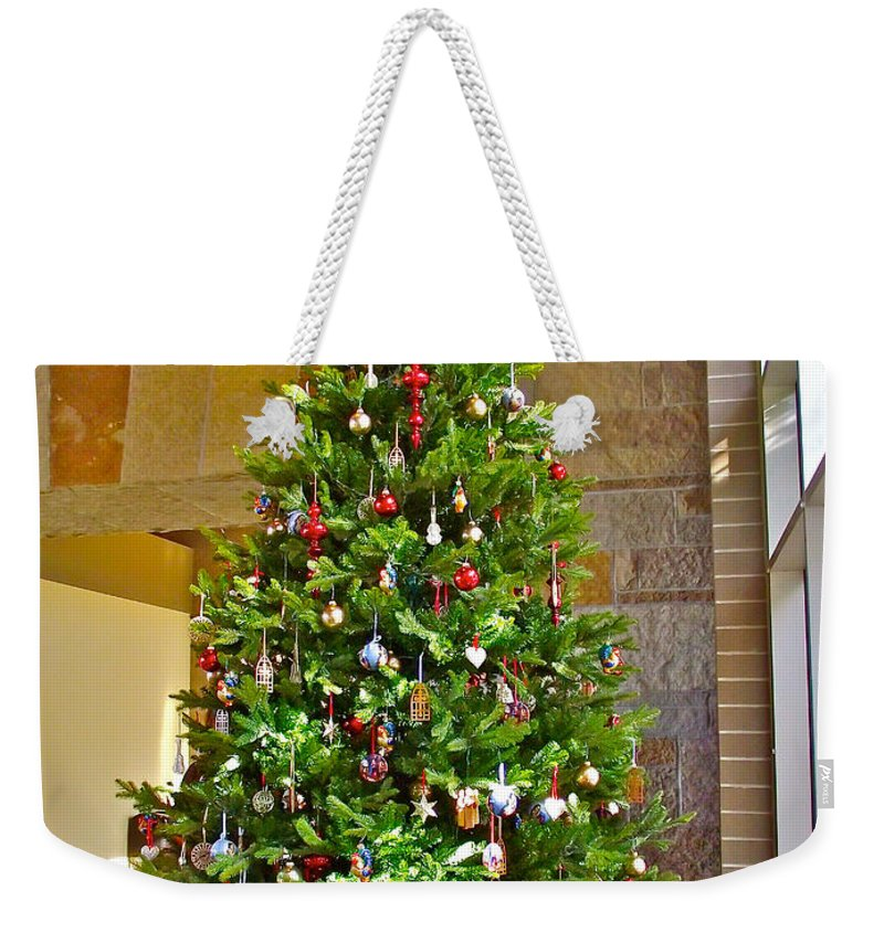 spanish christmas tree decorations in fredrik meijer gardens and sculpture park in grand rapids weekender tote