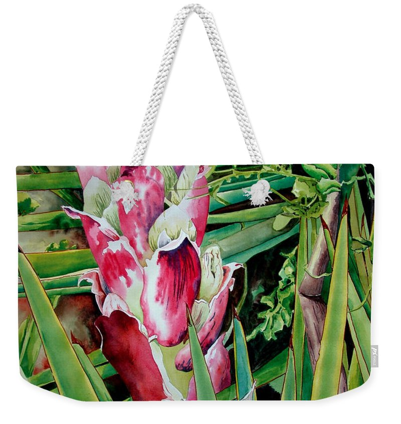 Floral Painting Weekender Tote Bag featuring the painting Spanish Dagger IIi by Kandyce Waltensperger