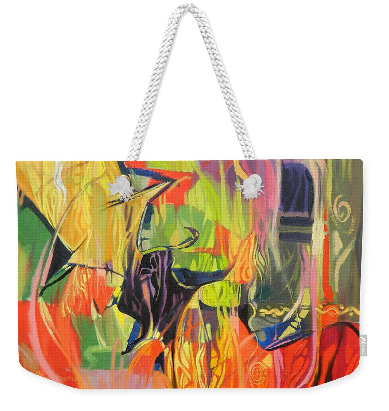 Abstract Weekender Tote Bag featuring the painting Spark Of Passion by Said Oladejo-lawal