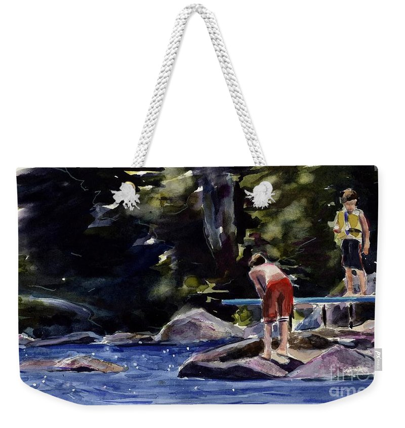 Lake Weekender Tote Bag featuring the painting Sparkle Lake by Molly Poole