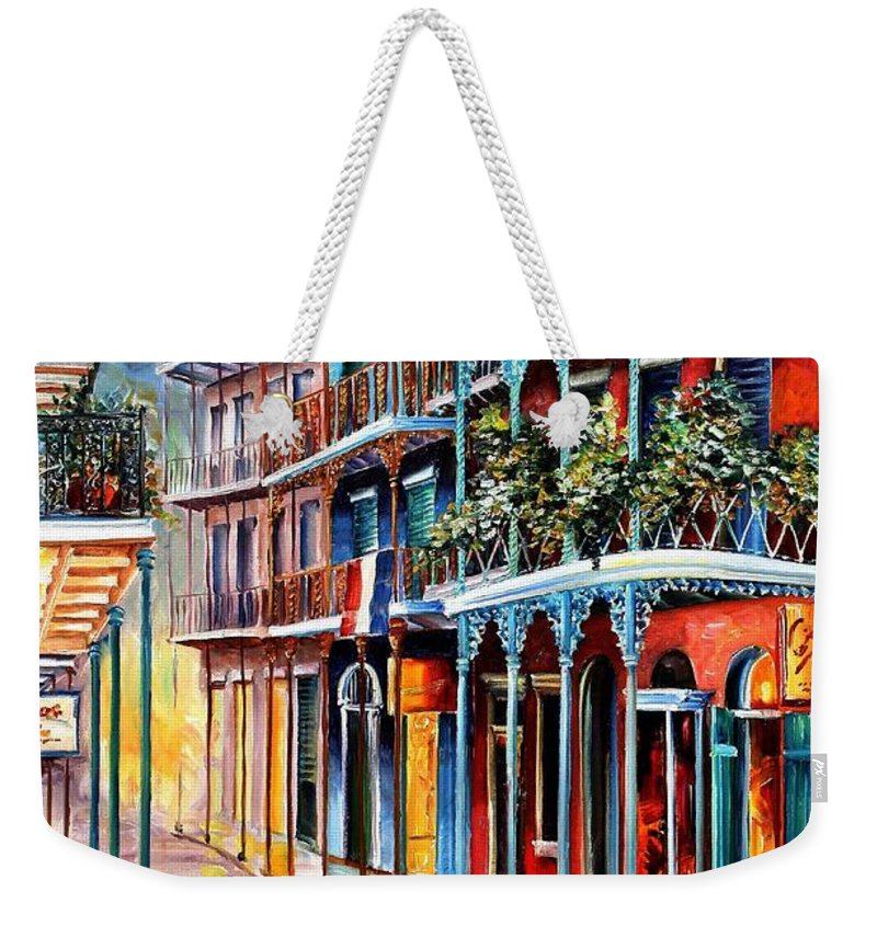 New Orleans Weekender Tote Bag featuring the painting Sparkling French Quarter by Diane Millsap